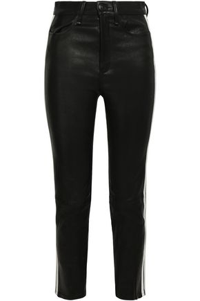 RAG & BONE Striped leather skinny pants