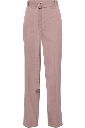 JOSEPH Belted cotton-poplin straight-leg pants