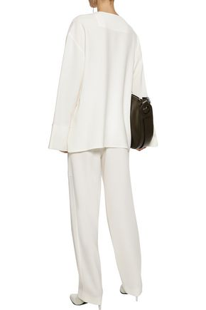 JOSEPH Terry belted stretch-crepe wide-leg pants