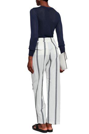 RAG & BONE Striped cotton and linen-blend straight-leg pants