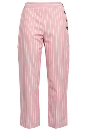 VICTORIA, VICTORIA BECKHAM Cropped pinstriped cotton-twill straight-leg pants