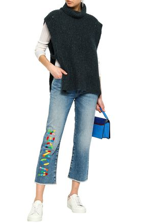 MIRA MIKATI Embroidered faded mid-rise straight-leg jeans