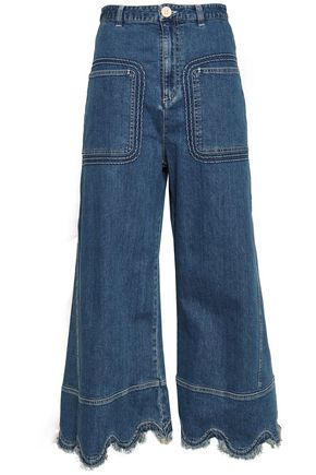 SEE BY CHLOÉ Scalloped frayed high-rise wide-leg jeans