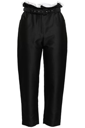 ISA ARFEN Belted ruffle-trimmed cotton and silk-blend shantung tapered pants