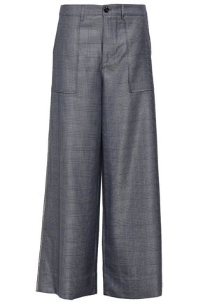 GANNI Embellished Prince of Wales silk and wool-blend wide-leg pants