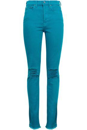 COTTON CITIZEN Distressed high-rise slim-leg jeans