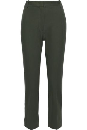 JOSEPH Zoomy cropped stretch cotton-twill slim-leg pants