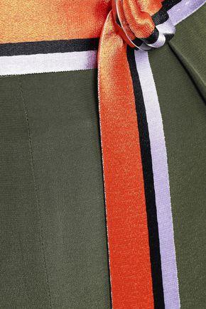 AMANDA WAKELEY Belted silk crepe de chine wide-leg pants