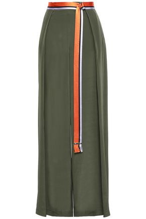 AMANDA WAKELEY Belted silk crepe de chine wide-leg pants