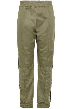 SPRWMN Metallic striped cotton-twill track pants
