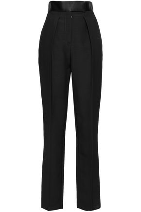 ROBERTO CAVALLI Wool and silk-blend twill straight-leg pants