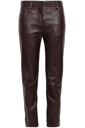 ROBERTO CAVALLI Paneled leather and jersey slim-leg pants