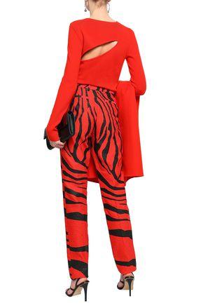 ROBERTO CAVALLI Zebra-print jacquard slim-leg pants