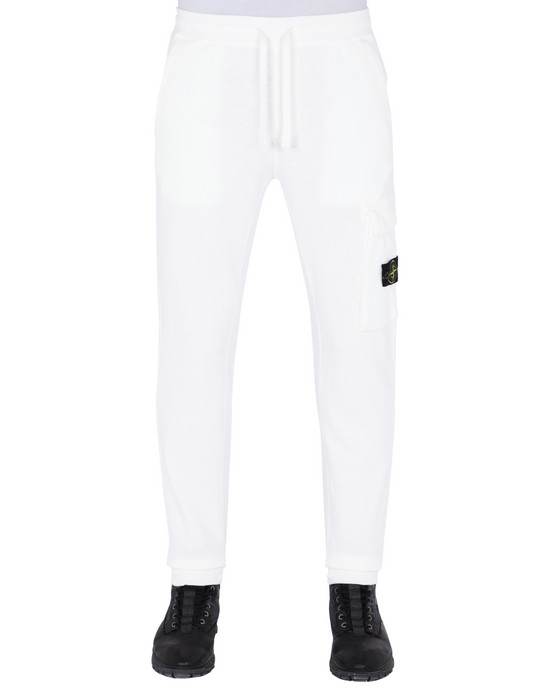 STONE ISLAND 65361 'OLD' DYE TREATMENT  Fleece Pants Man Natural White