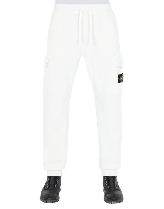 STONE ISLAND 61120 Fleece Trousers Man Natural White