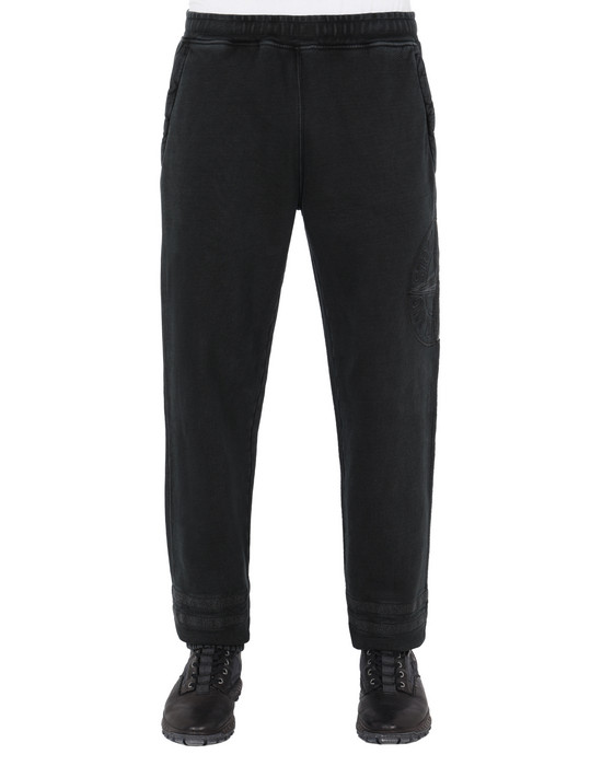 STONE ISLAND 63547 'OLD' DYE TREATMENT  Fleece Trousers Man Black