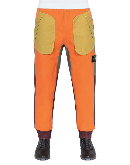 STONE ISLAND 31855 TELA PLACCATA BICOLORE Trousers Man Orange