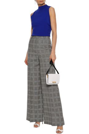 MILLY Hayden Prince of Wales checked wool wide-leg pants
