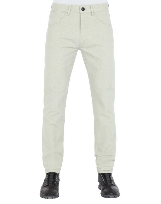 STONE ISLAND J01J1 PANAMA PLACCATO PANTS - 5 POCKETS Man Dust Gray