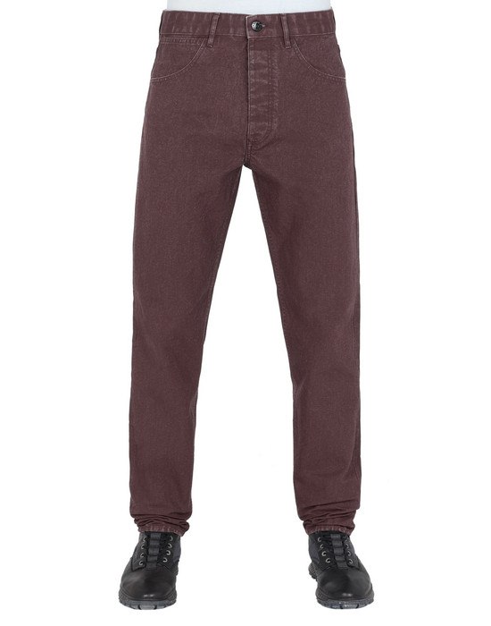 STONE ISLAND J02J1 PANAMA PLACCATO RE-T PANTS - 5 POCKETS Man Dark Burgundy