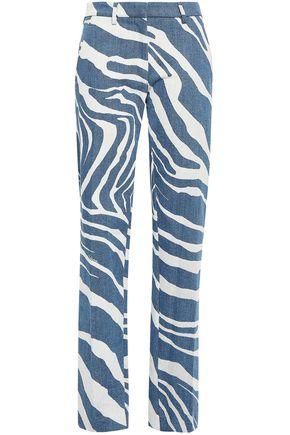 ROBERTO CAVALLI Zebra-print mid-rise straight-leg jeans