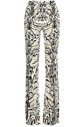 ROBERTO CAVALLI Printed stretch-crepe bootcut pants