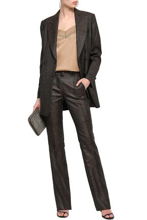 ROBERTO CAVALLI Croc-effect jacquard slim-leg pants