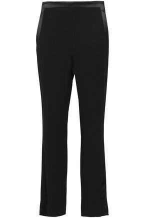 ROBERTO CAVALLI Satin-trimmed crepe straight-leg pants