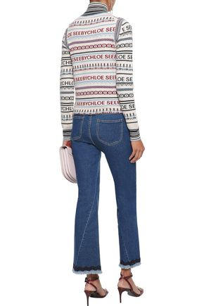 SEE BY CHLOÉ Frayed picot-trimmed mid-rise kick-flare jeans