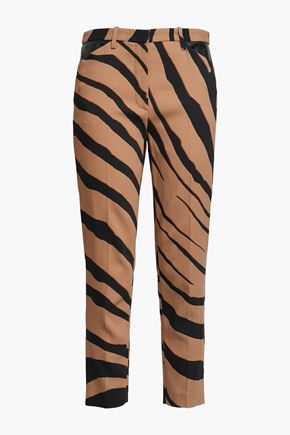 ROBERTO CAVALLI Cropped zebra-print crepe slim-leg pants