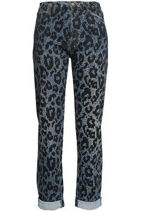 ROBERTO CAVALLI Leopard-print high-rise slim-leg jeans