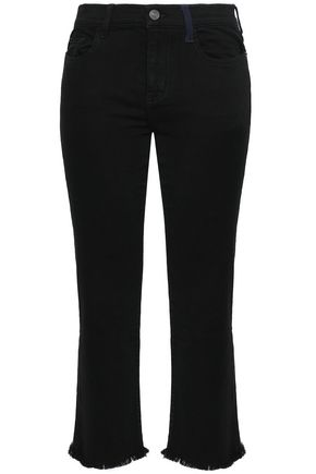 CURRENT/ELLIOTT Frayed mid-rise kick-flare jeans