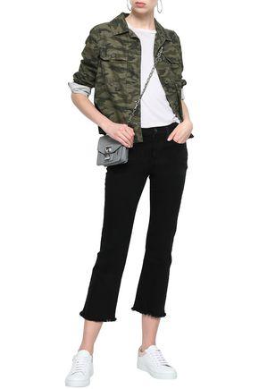 Current Elliott Current/elliott Woman Frayed Mid-rise Kick-flare Jeans Black