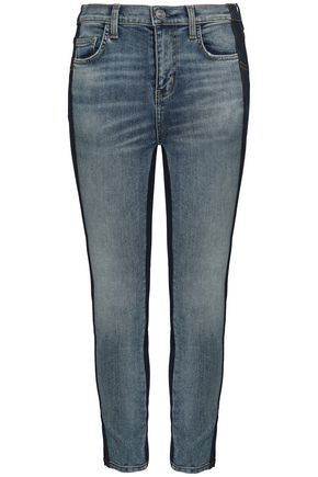 CURRENT/ELLIOTT Cropped two-tone mid-rise skinny jeans