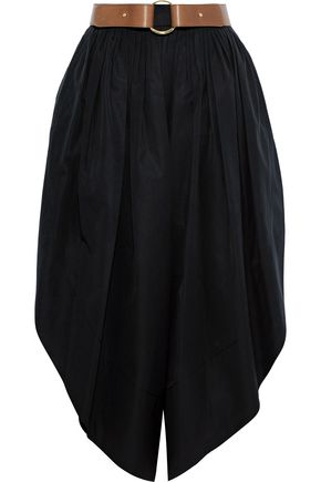 CHLOÉ Belted cropped cotton-poplin wide-leg pants