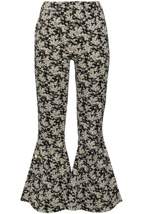 MOTHER OF PEARL Embellished cotton-blend floral-jacquard kick-flare pants