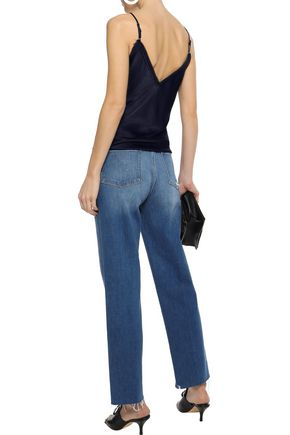 FRAME Le Nouveau Straight distressed high-rise straight-leg jeans