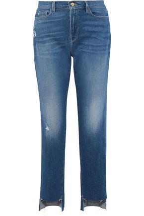 FRAME Le Nouveau Straight distressed high-rise straight-leg jeans