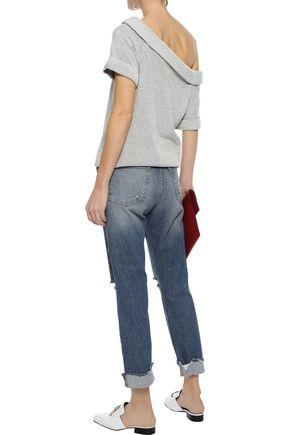 FRAME Le Boy cropped distressed mid-rise slim-leg jeans