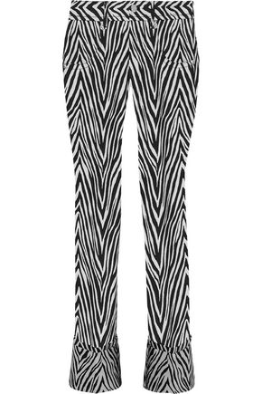 HELMUT LANG Motley cotton and silk-blend zebra-jacquard straight-leg jeans