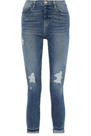 FRAME Le High Skinny Raw Stagger distressed high-rise skinny jeans
