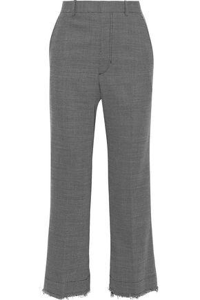 HELMUT LANG Cropped frayed wool-blend straight-leg pants