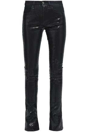 ROBERTO CAVALLI Snake-print high-rise flared jeans