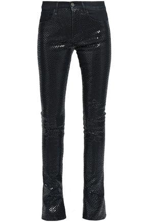 ROBERTO CAVALLI Snake-print high-rise flared jeans
