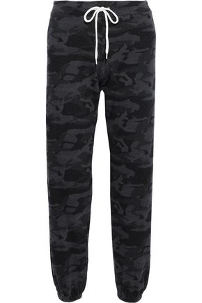MONROW Printed French-terry track pants