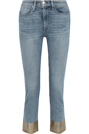 RAG & BONE Cropped coated mid-rise slim-leg jeans