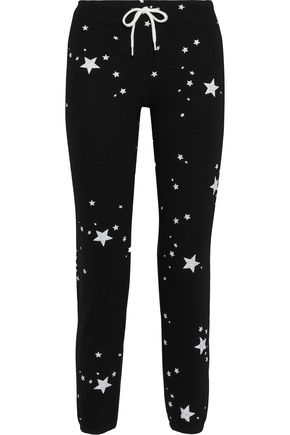 MONROW Cropped printed French-terry track pants