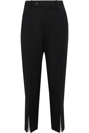 HELMUT LANG Slit-detailed wool-blend twill tapered pants
