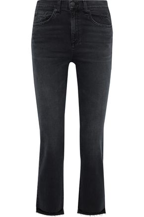 RAG & BONE 10 Inch Stove Pipe cropped distressed high-rise straight-leg jeans