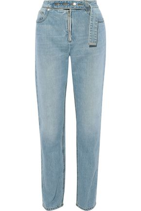 HELMUT LANG Belt-detailed faded high-rise straight-leg jeans